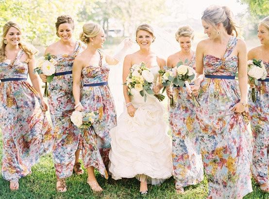 Vestidos para damas de honor en jardin