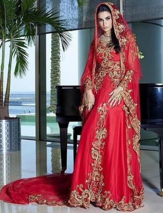 Dubai-font-b-Kaftan-b-font-Red-Muslim-Wedding-font-b-Dress-b-font-Sweetheart-Appliques